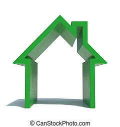 House icon - 3d render of green house icon with shadow....