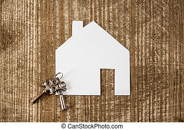 House icon and keys, real estate concept