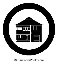 House icon black color in circle