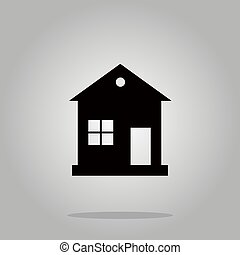 House icon black silhouette on background Vector