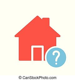 House icon, buildings icon with question mark. House icon and help, how to, info, query symbol