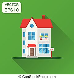 House icon. Business concept house pictogram. Vector illustration on green background with long shadow.