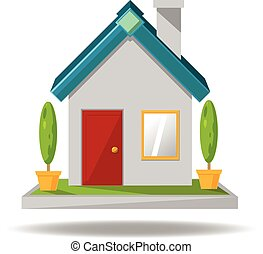 House icon cartoon vector