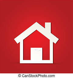 House icon design with isolated on red