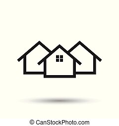 House icon. Flat vector illustration. Home sign symbol with shadow on white background.