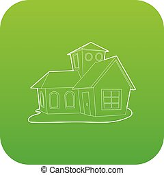 House icon green vector