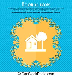 house icon icon. Floral flat design on a blue abstract background with place for your text. Vector