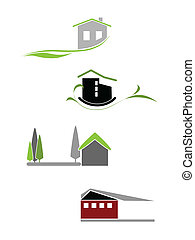 Illustration of the house icons for add it to the logotypes