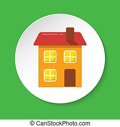 House icon in flat style on round button