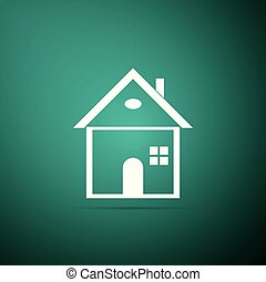 House icon isolated on green background. Home symbol. Flat design. Vector Illustration