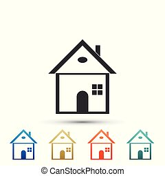 House icon isolated on white background. Home symbol. Set elements in color icons. Vector Illustration