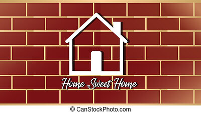 House icon logo with brick old wall vector icon