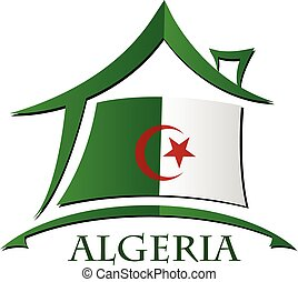 House icon made from the flag of Algeria