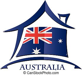 House icon made from the flag of  Australia