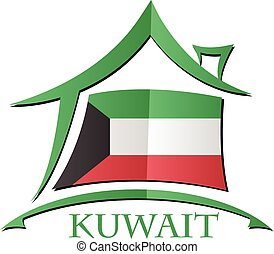 House icon made from the flag of Kuwait