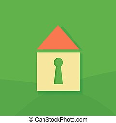 House icon on a green background.