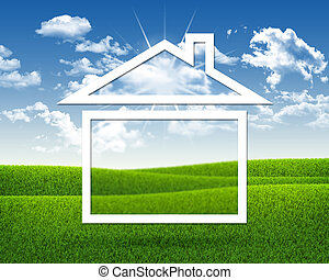 House icon on background of green grass and blue sky