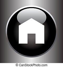 House icon on black button