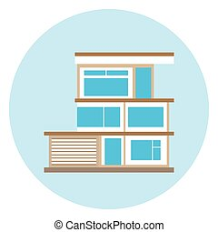 House Icon On Blue Background Modern Smart Home Concept