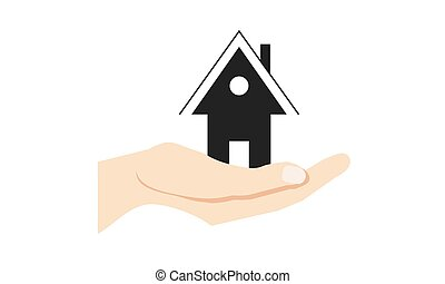 House icon on hand