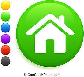 house icon on round internet button