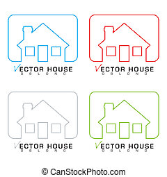 House icon outline set - Collection of bungalow homes with...