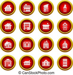 House icon red circle set
