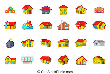 House icon set, cartoon style