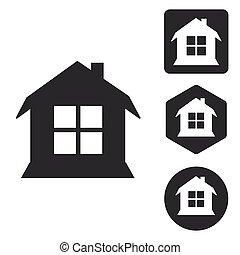 House icon set, monochrome