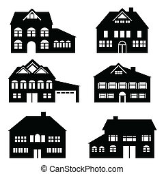 House icon set - Various single family houses icon set