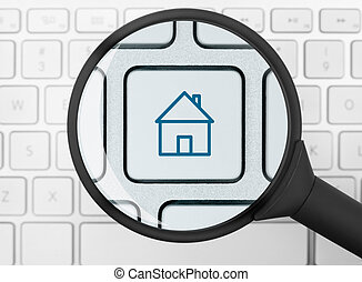 House icon under the magnifying glass