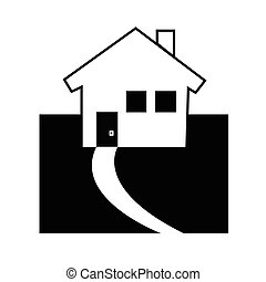 house icon vector - black silhouette house logo on white...