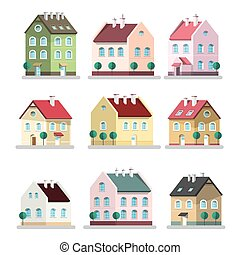 House Icon. Vector Houses Symbols. Building Flat Design Symbol Isolated on White Background.