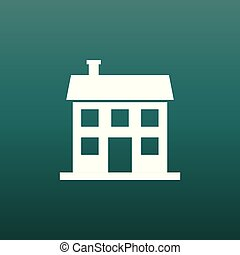 House icon. Vector illustration in flat style on green background.