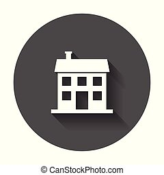 House icon. Vector illustration in flat style with long shadow.