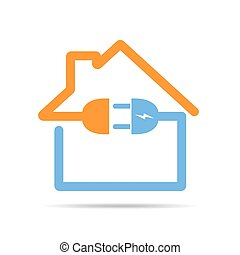 The outline of the house with socket and plug. Vector illustration. Colored house icon, isolated on white background.