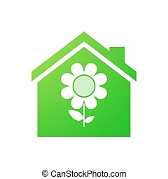 House icon with a daisy