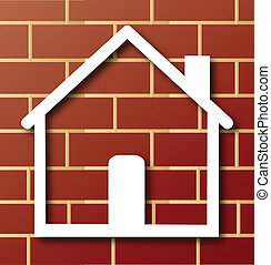 House icon with brick wall logo - House icon with brick wall...