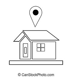 house icon with navigation logo vector - white background