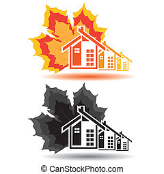 House icons for real estate business on white background. With natural elements