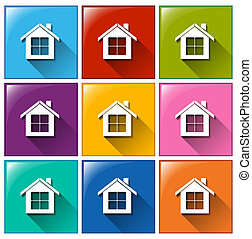 House icons - Illustration of the house icons on a white ...