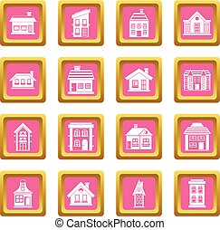House icons pink