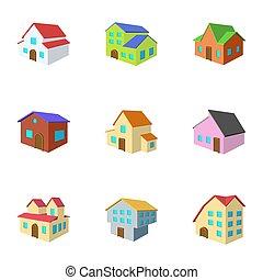 House icons set, cartoon style