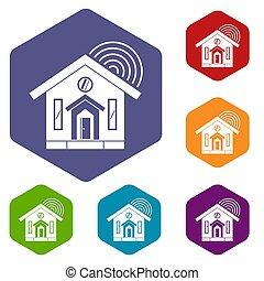 House icons set hexagon