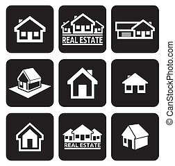 House icons set. Real estate.