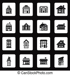 House icons set, simple style