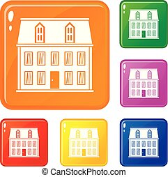 House icons set vector color