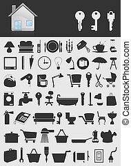 House icons2 - Set of icons on a theme the house. A vector ...
