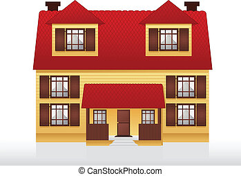 House - Illustration of two story house. Layered file.