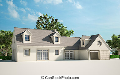 House improvement - 3D rendering of a house with garden ...